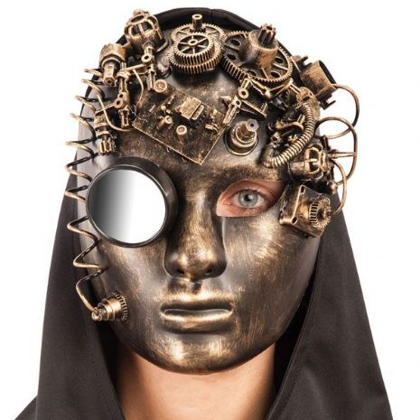 Mask Face Steampunk Gold with Mirror Face Body Paint Makeup